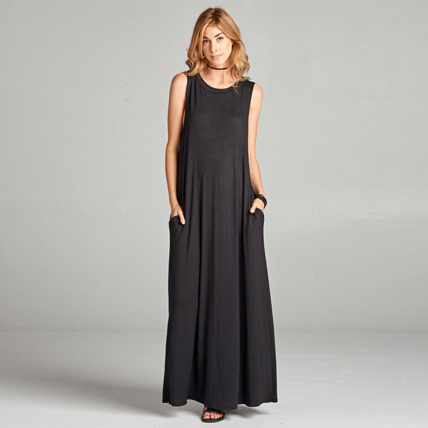 Sleeveless Solid Maxi Dress