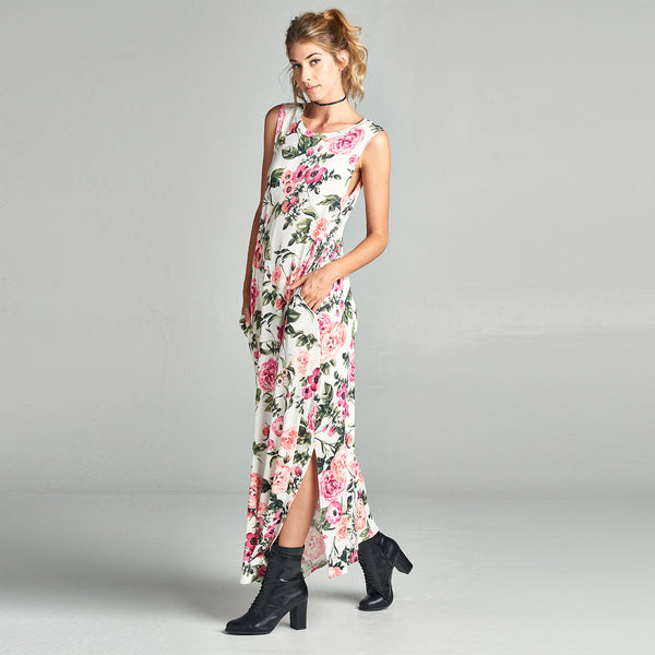 Hibiscus Sleeveless Maxi Dress with Pockets