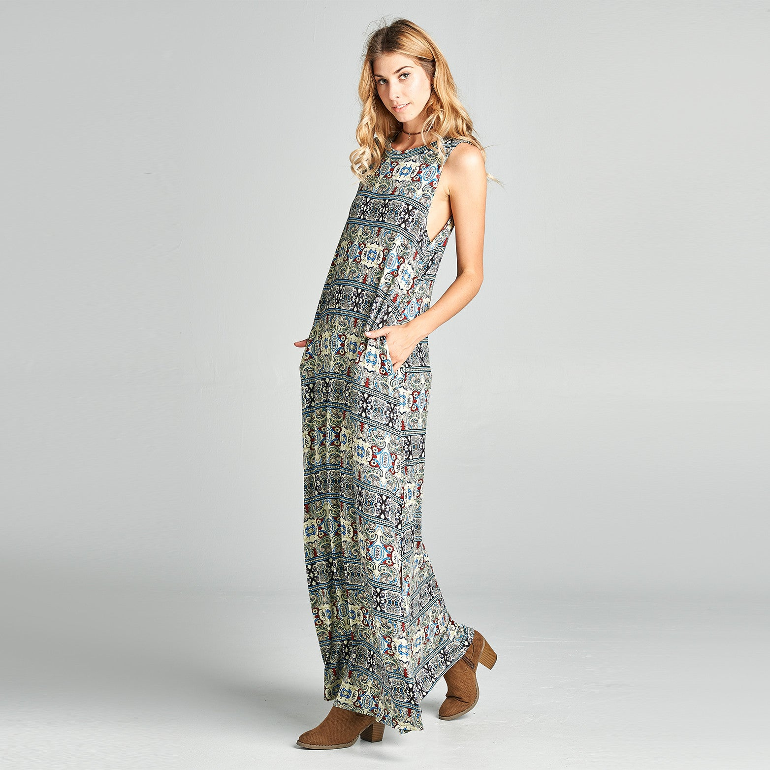 Mandala Sleeveless Maxi Dress with Pockets