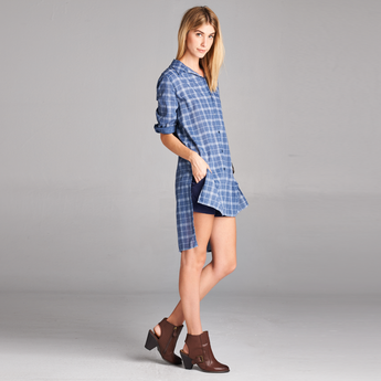 Denim Plaid Hi-Low Top