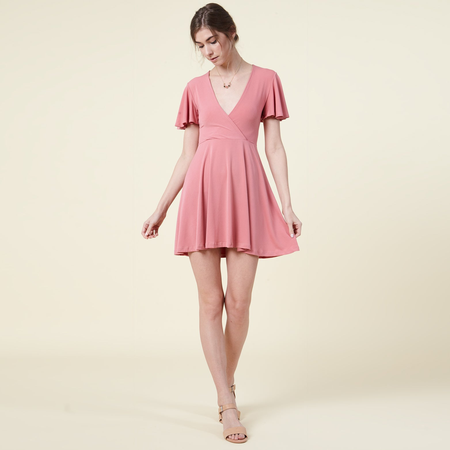 Flutter Sleeve Skater Dress