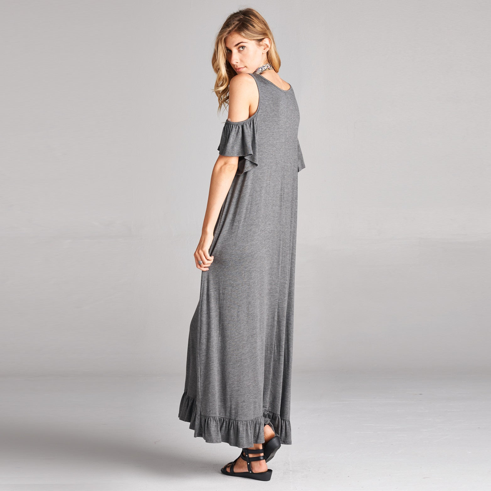 Ruffle Hem Cold Shoulder Maxi Dress