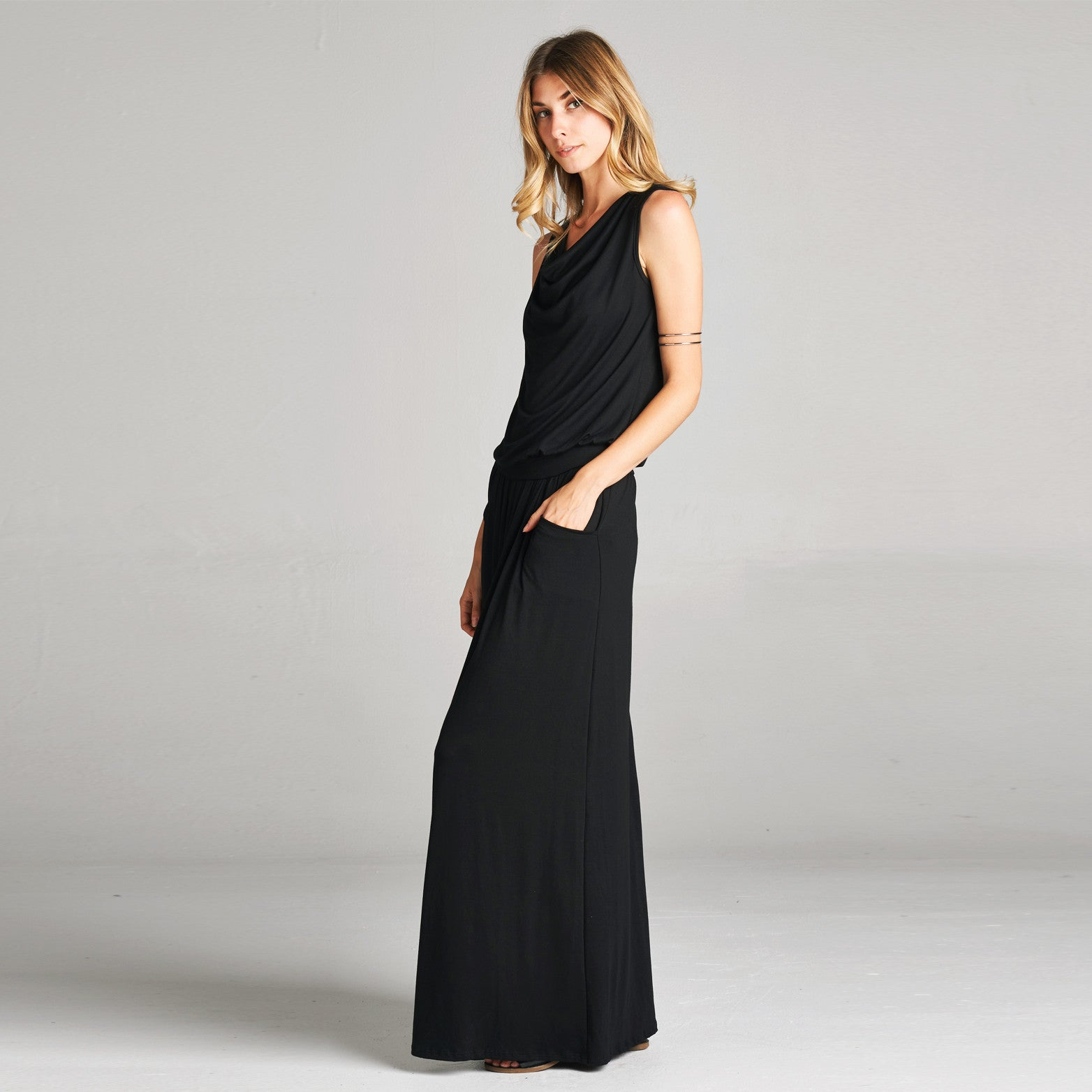 Cowl Neck Maxi Dress with Pockets - Love, Kuza