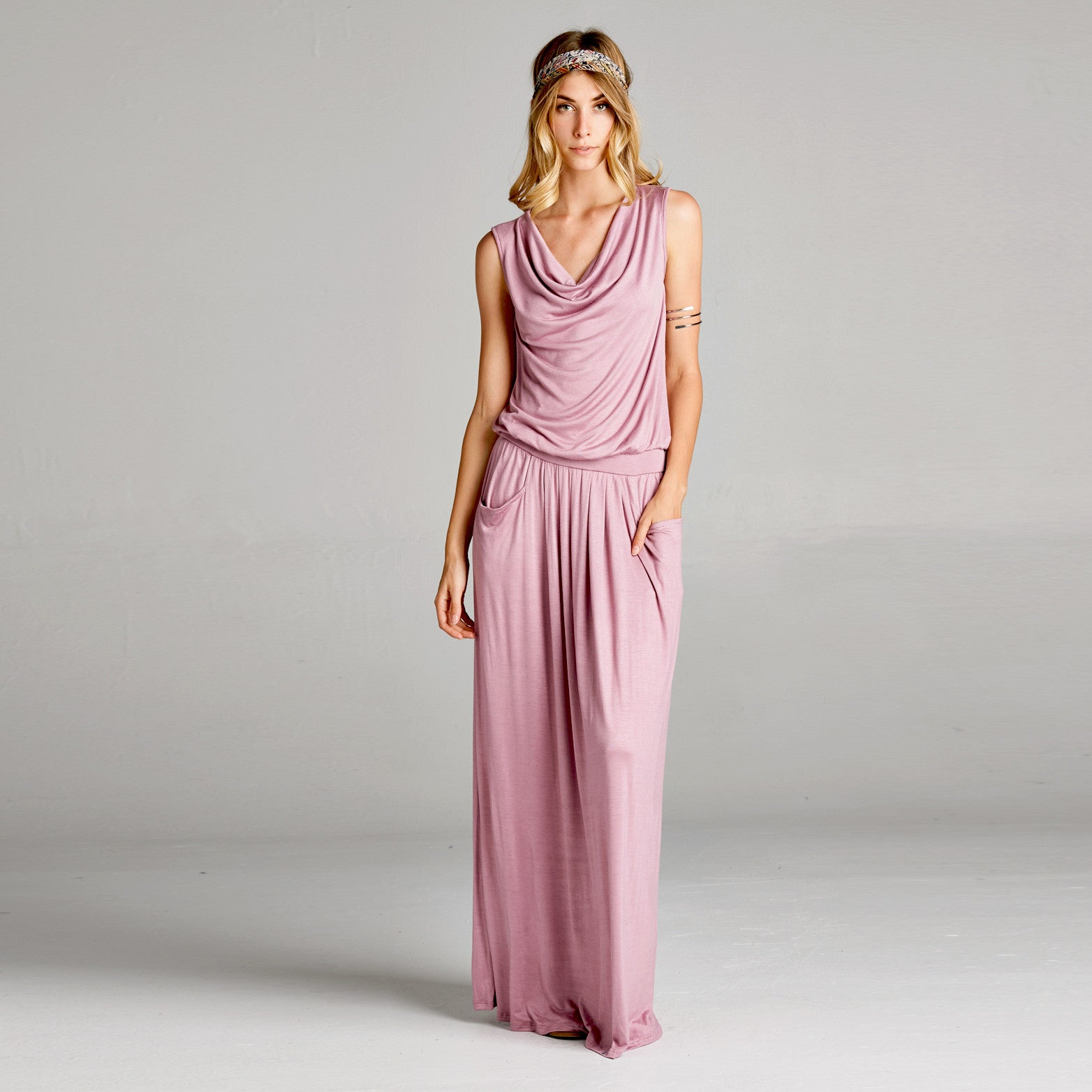 Cowl Neck Maxi Dress with Pockets