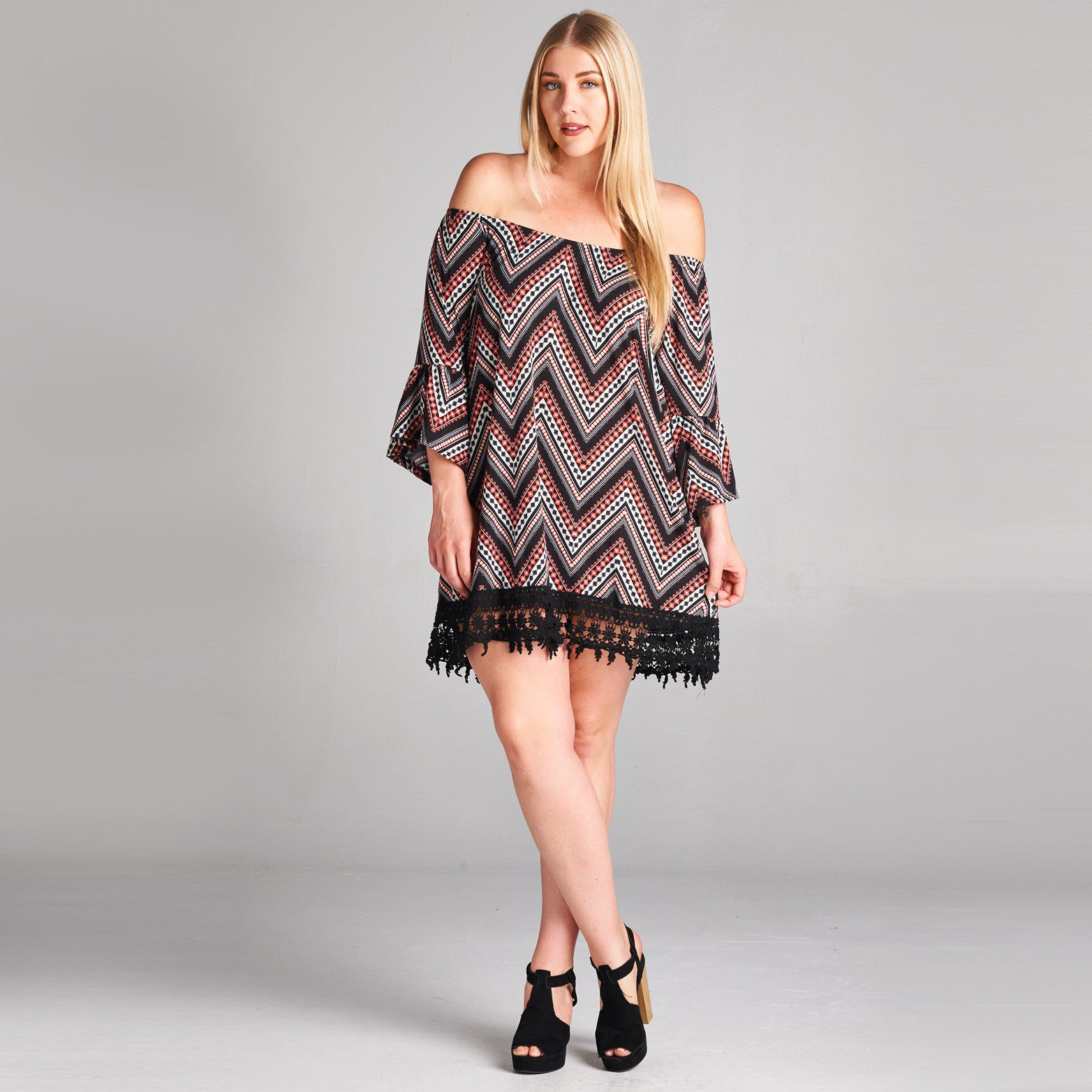Relaxed Chevron Mini Dress (Plus Size)