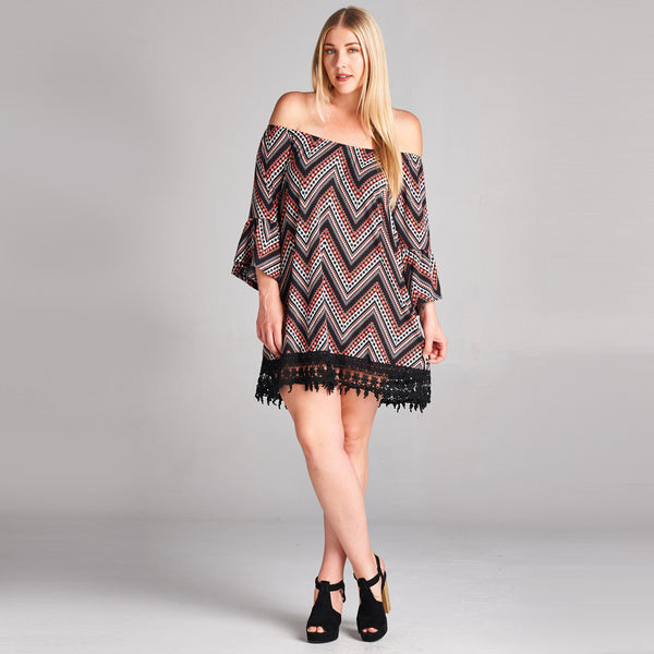 Bell Sleeve Chevron Dress