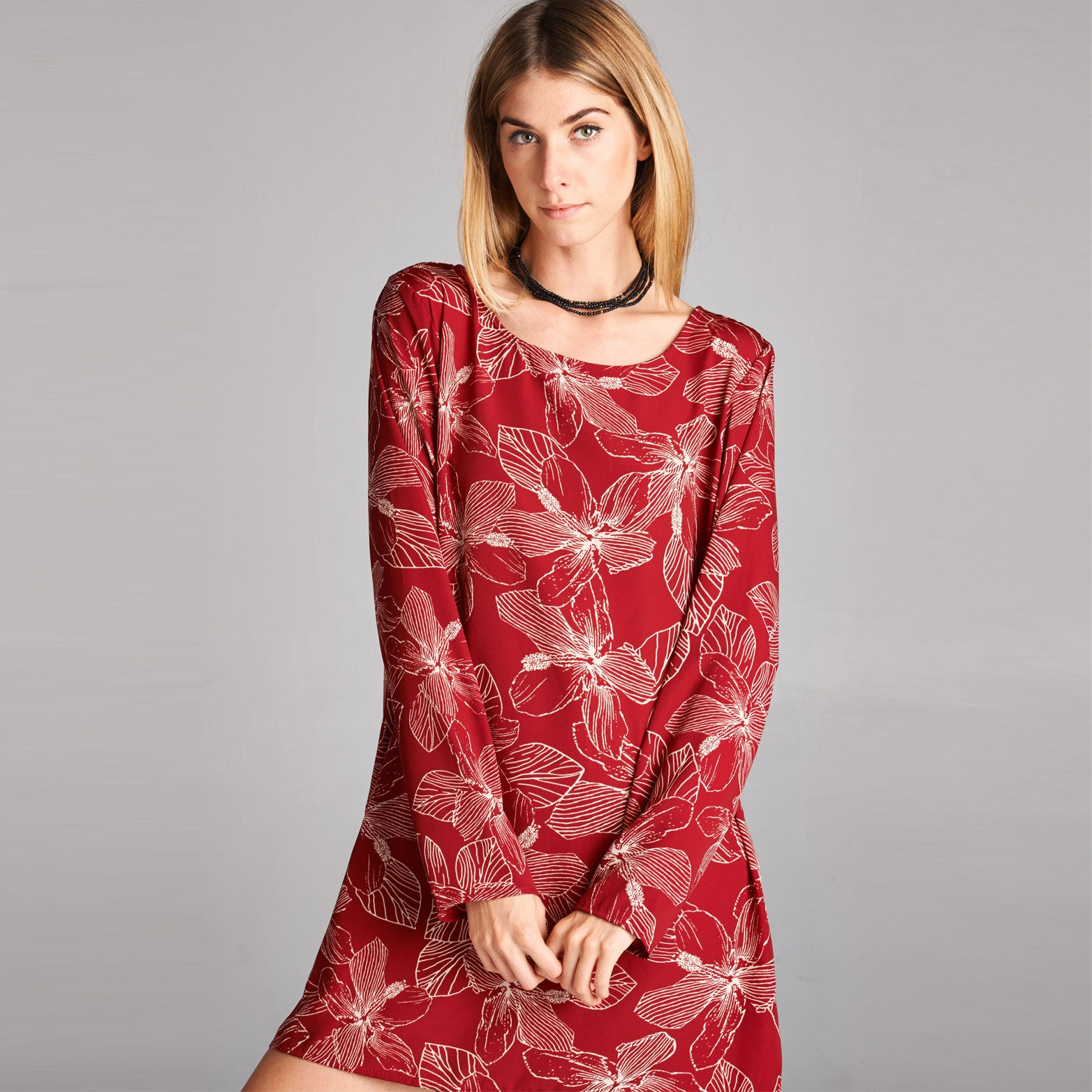 Mono Floral Scoop Neck Tunic Dress