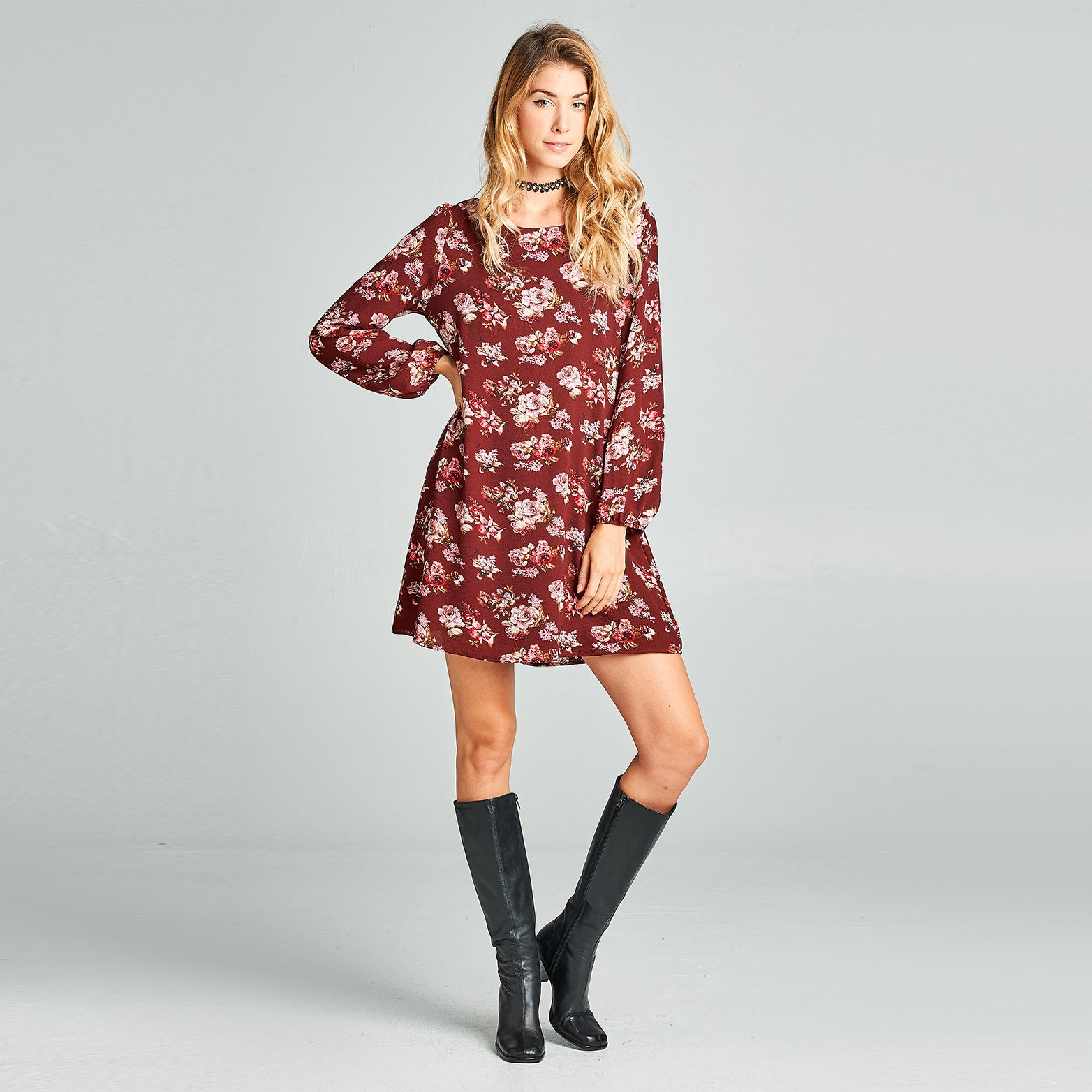 Rosey Crepe Shift Dress