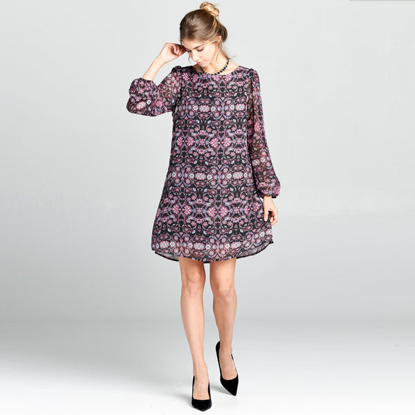 Floral Damask Crepe Shift Dress