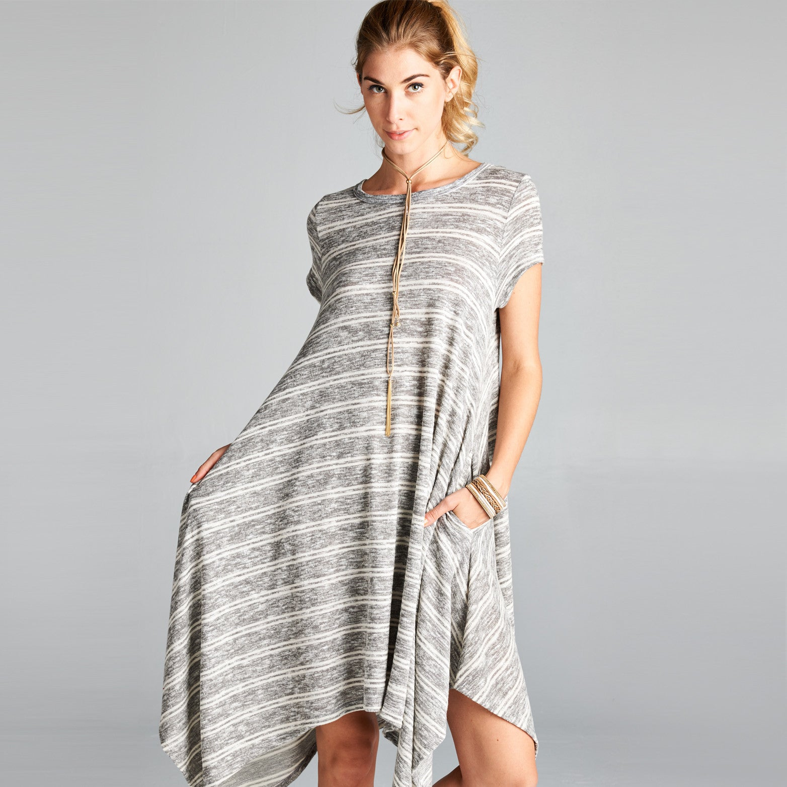 Asymmetrical Stripe Hacci Dress