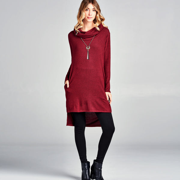 Cowl Neck High Low Tunic