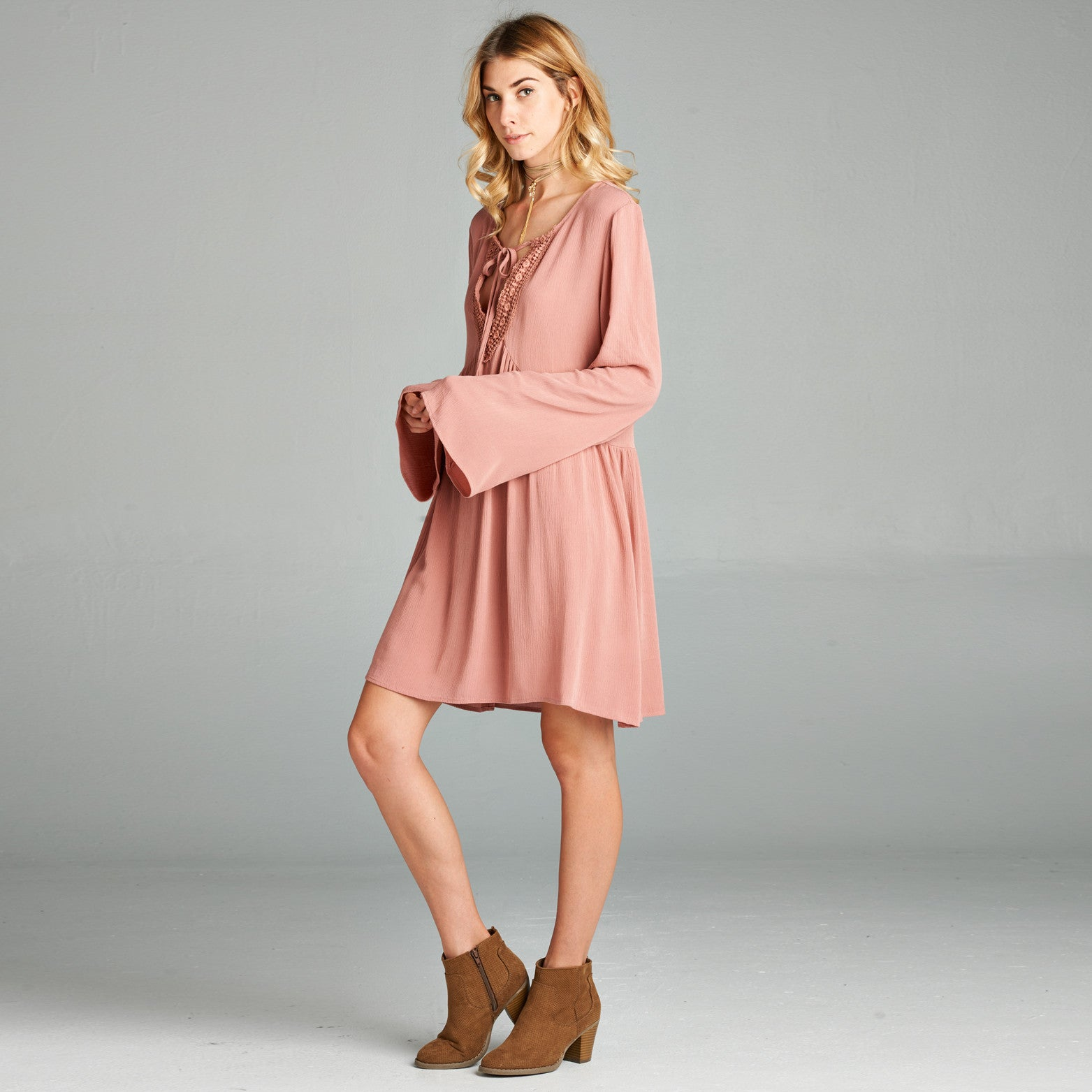 Lace Up Bell Sleeve Peasant Dress