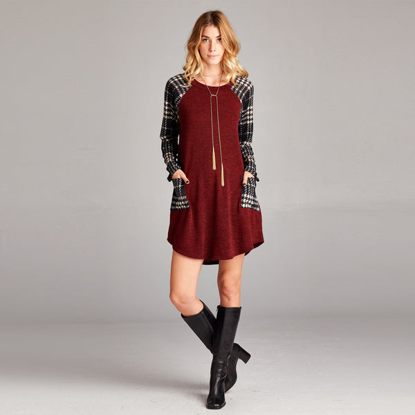 Hacci Plaid Sleeve Shift Dress