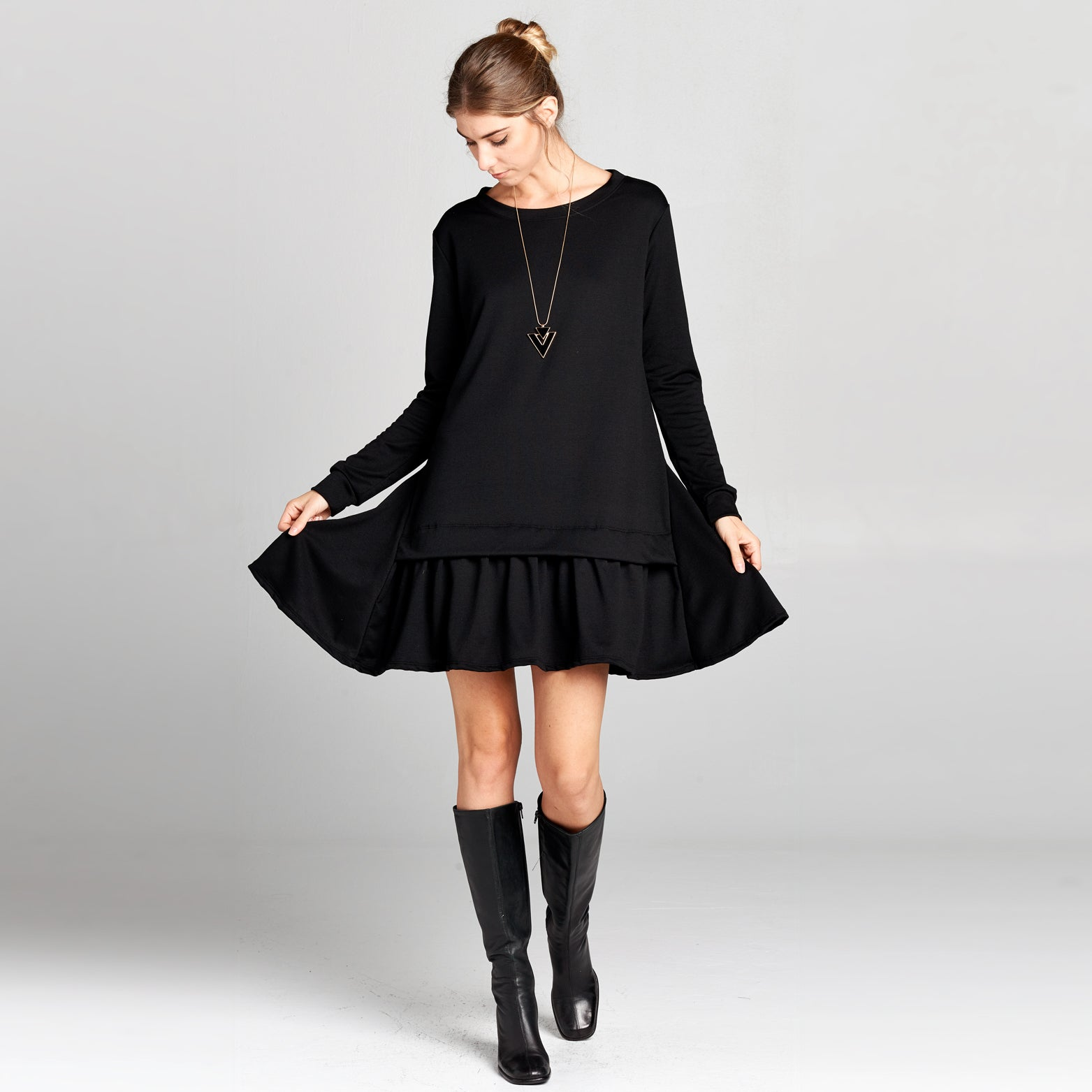 Pleated Hem Sweatshirt Dress - Love, Kuza