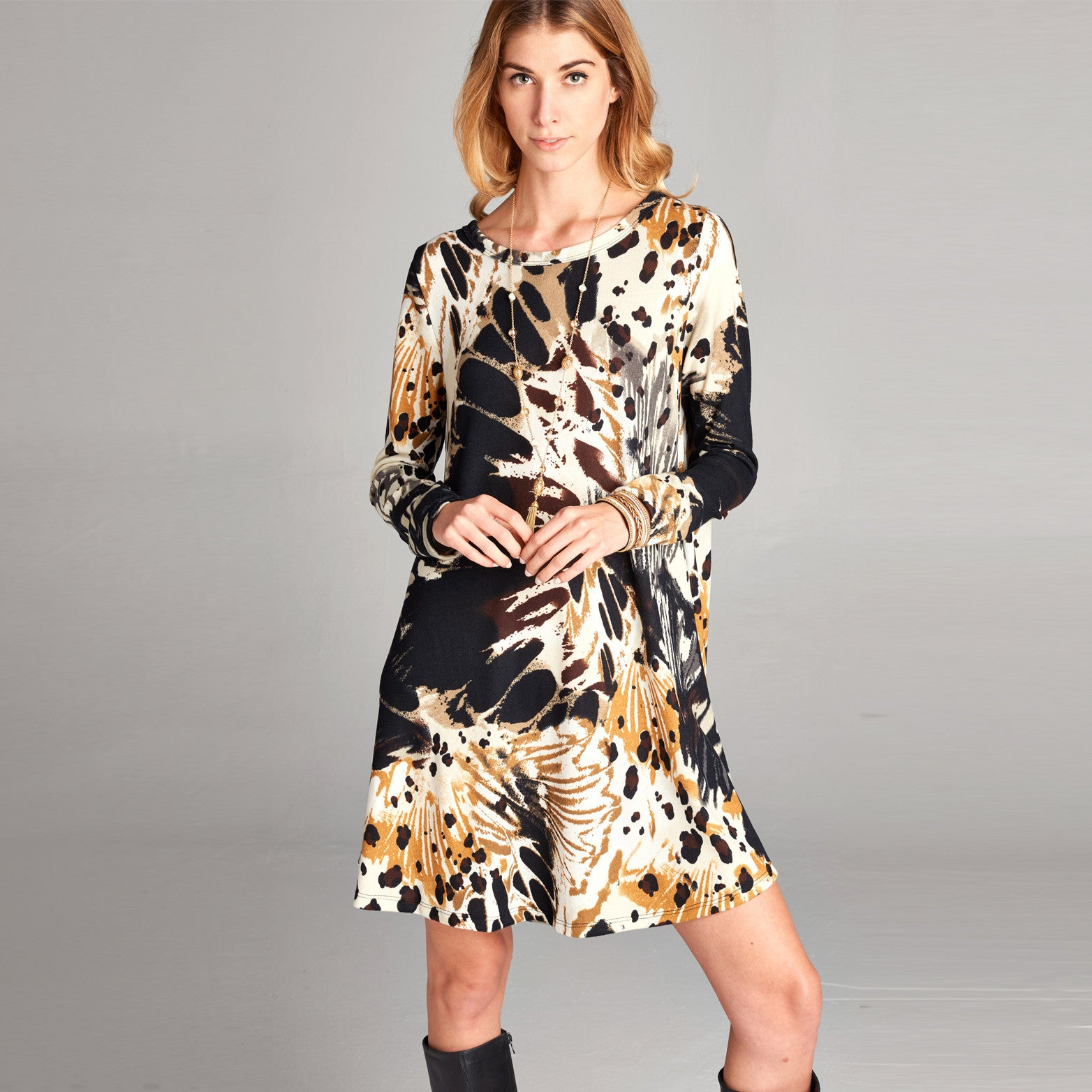 Abstract Butterfly Swing Dress