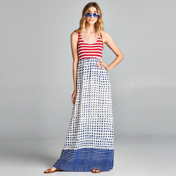 Geo Striped Maxi Dress - Love, Kuza