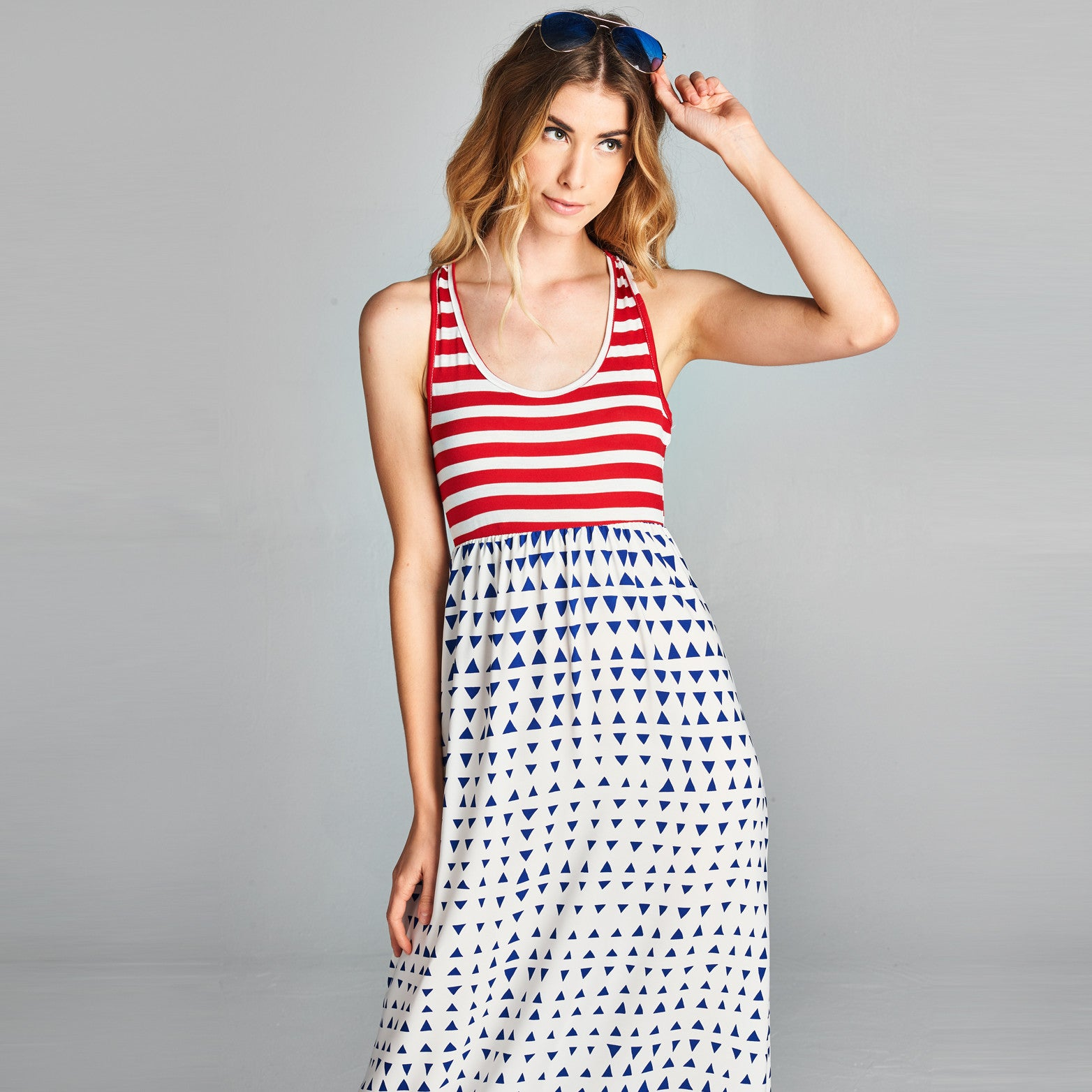 Geo Striped Maxi Dress