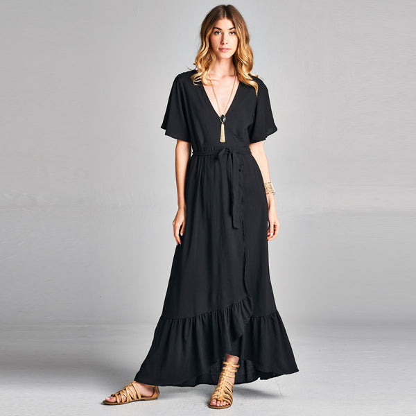 Solid Black Wrap Around Dress