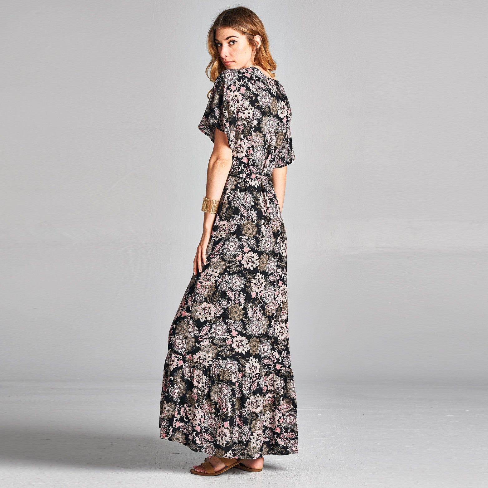 Abstract Floral Wrap Around Dress