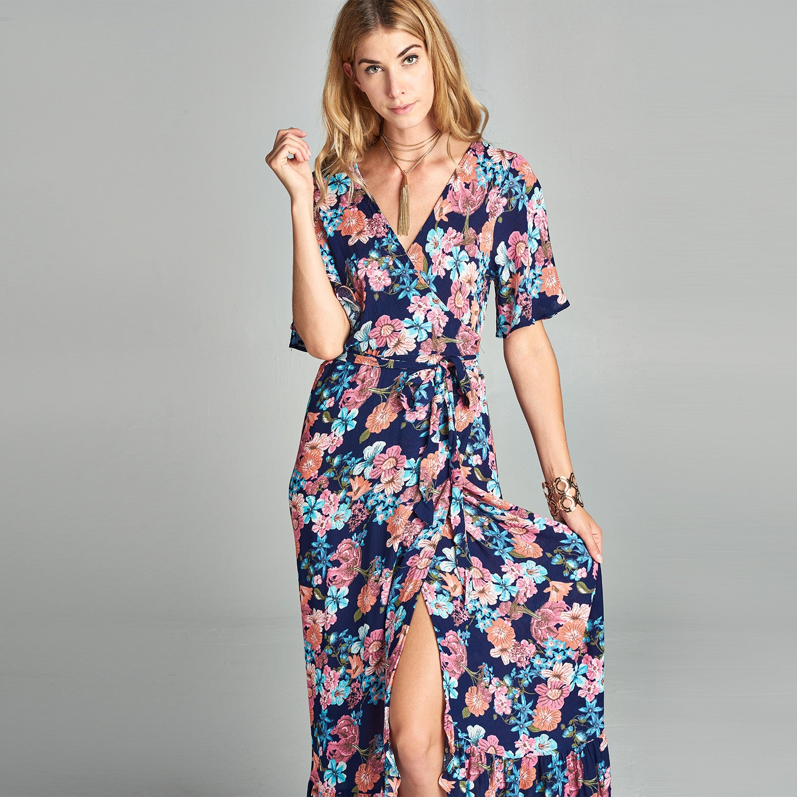 Sweet Floral Wrap Around Dress