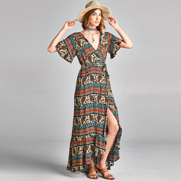 Paisley Wrap Around Dress