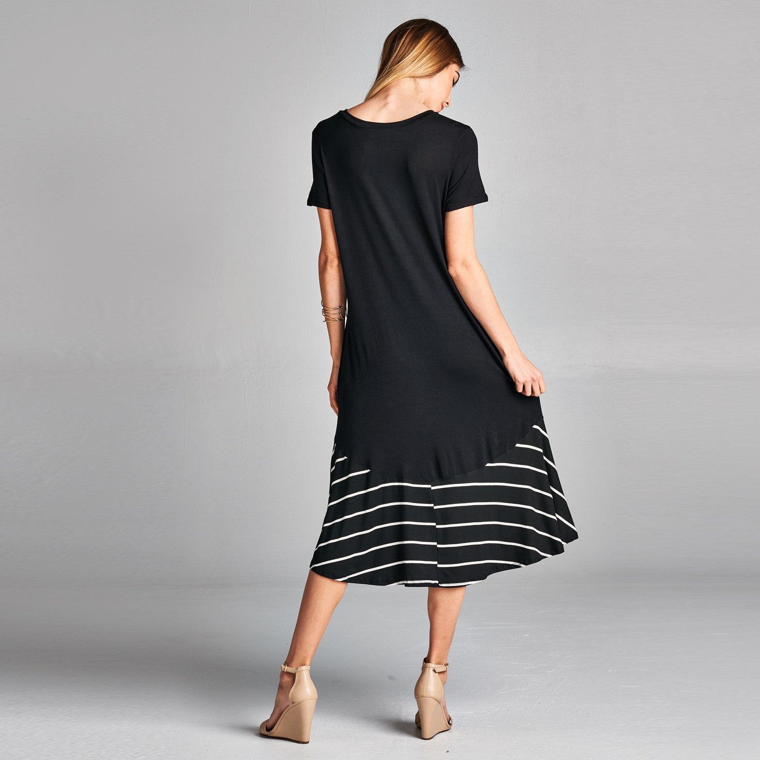 Striped Contrast Hi-Low Midi Dress