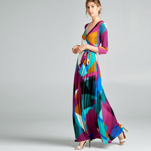 Abstract Geo Venechia Wrap Dress
