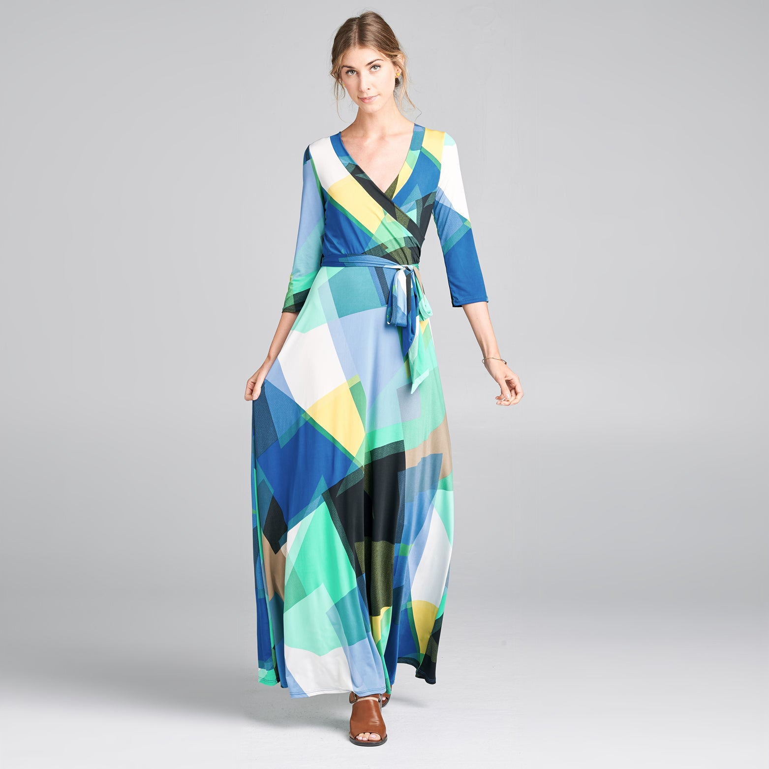 Teal Abstract Wrap Dress
