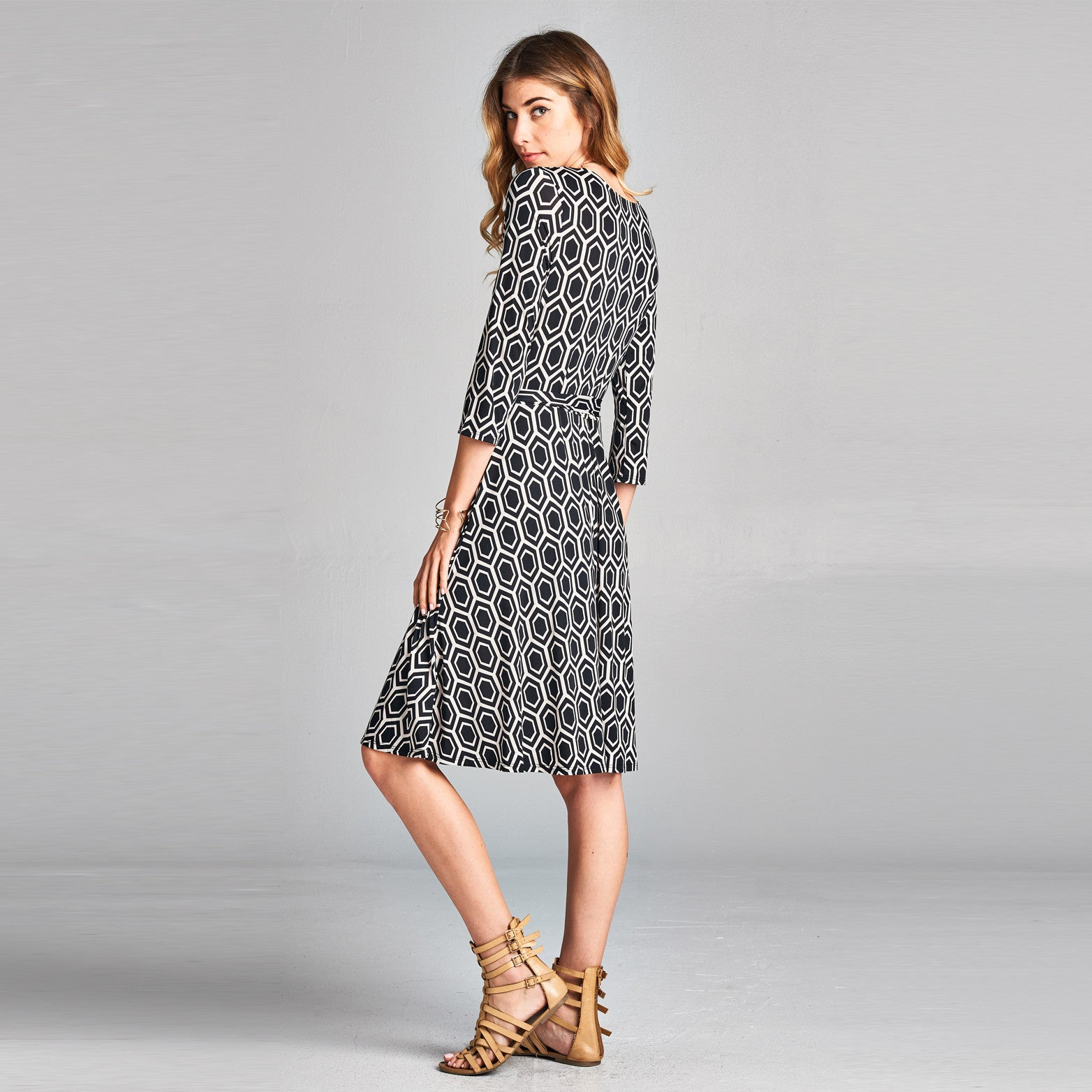 Honeycomb Venechia Midi Wrap Dress