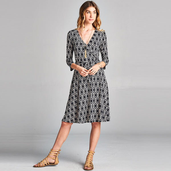 Honeycomb Midi Wrap Dress