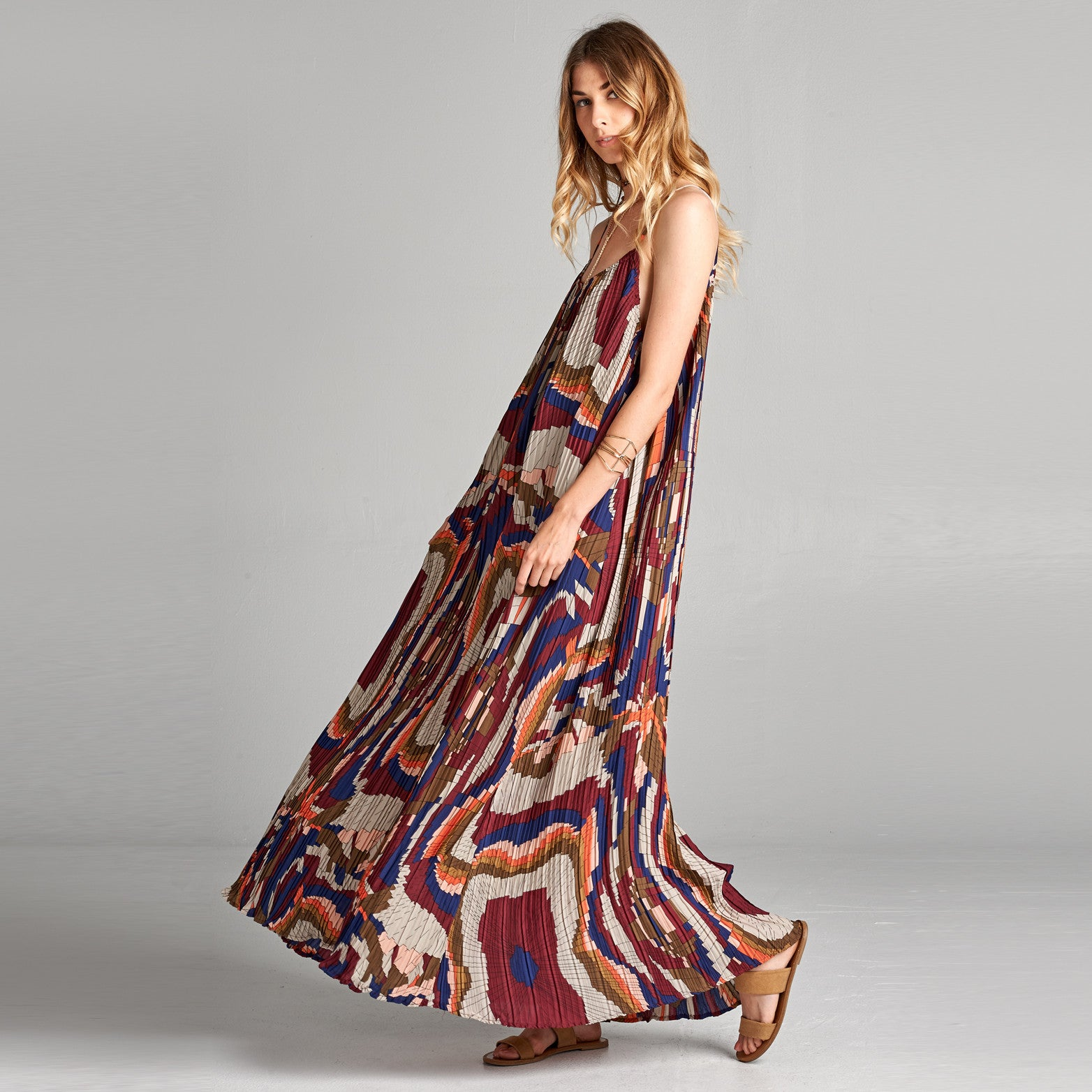 Abstract Pleated Maxi Dress