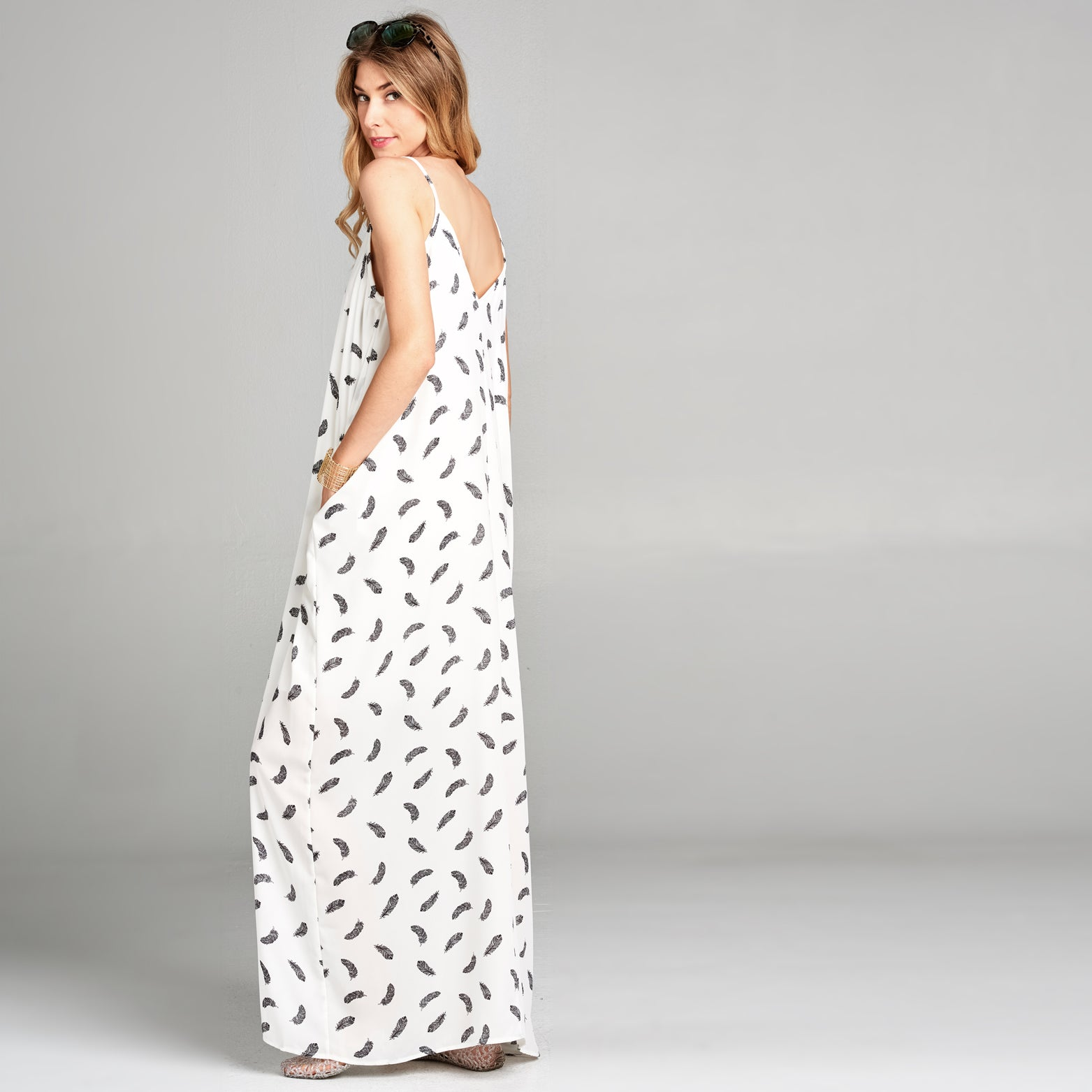 Feather Harem Maxi Dress