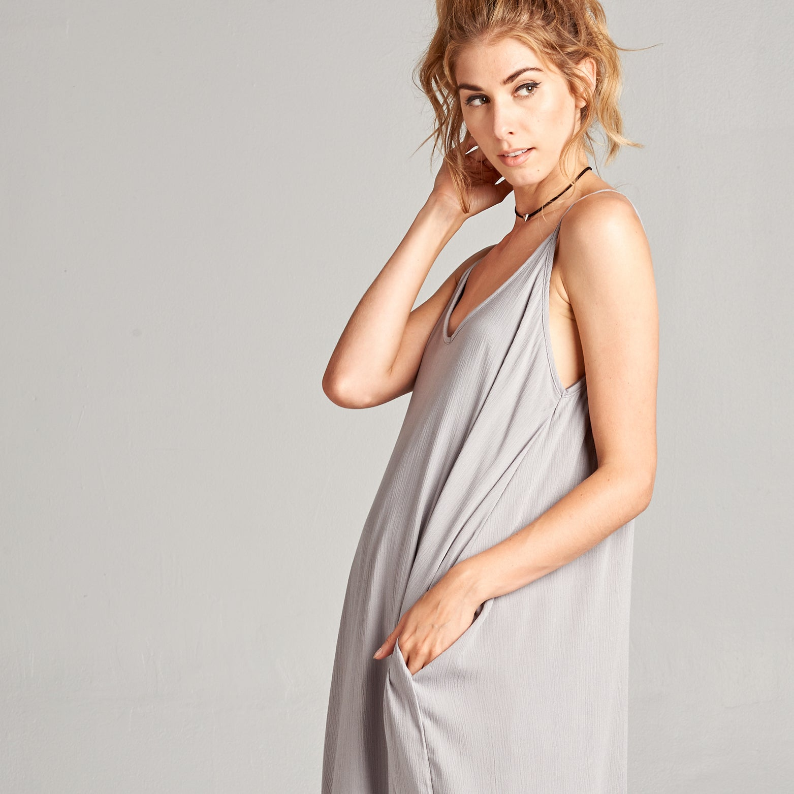 Harem Crepe Maxi Dress
