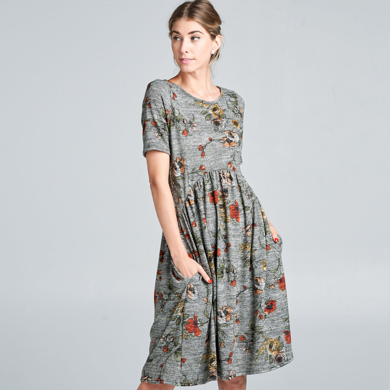 Hacci Floral Plaid A-Line Dress