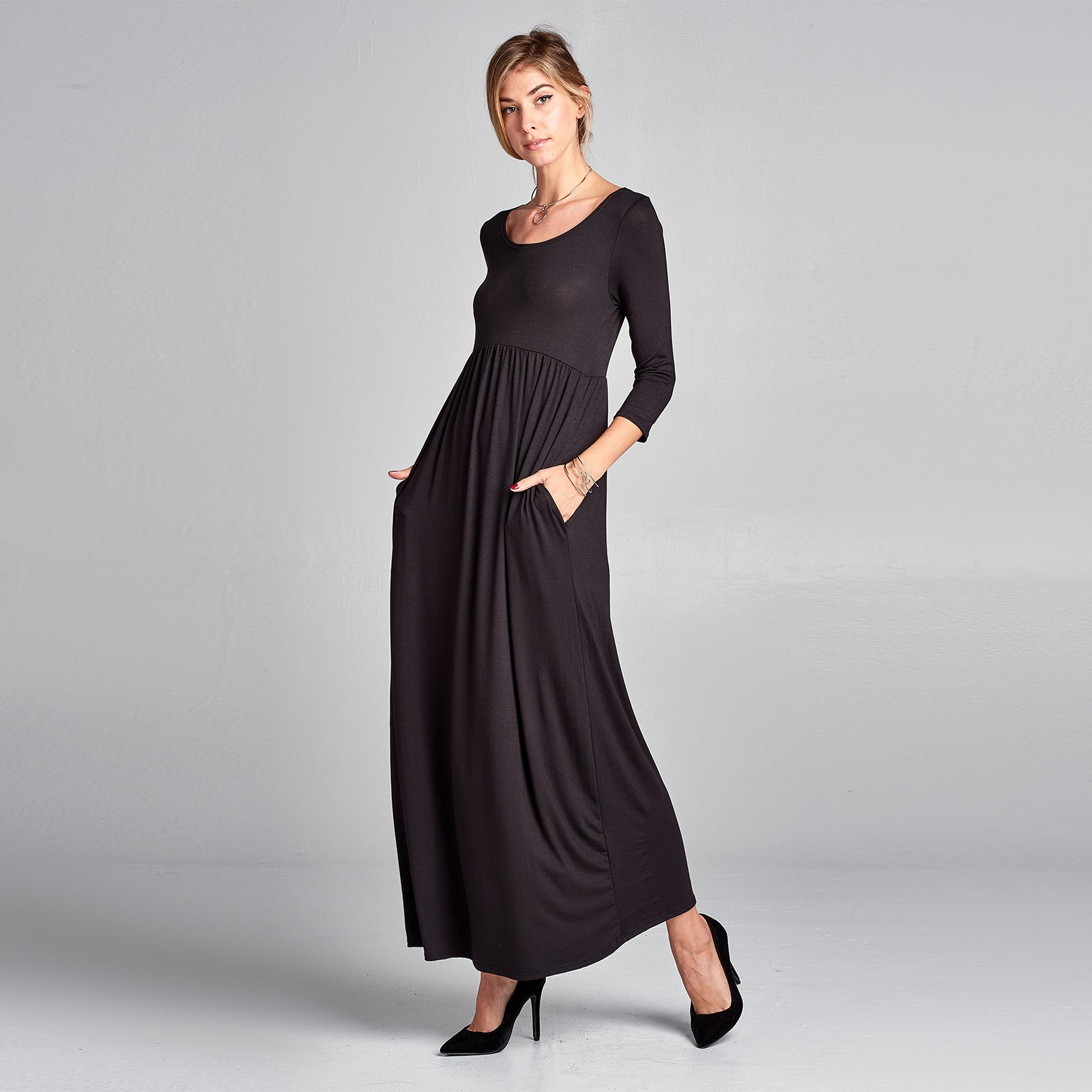 Empire Waist Solid Maxi Dress