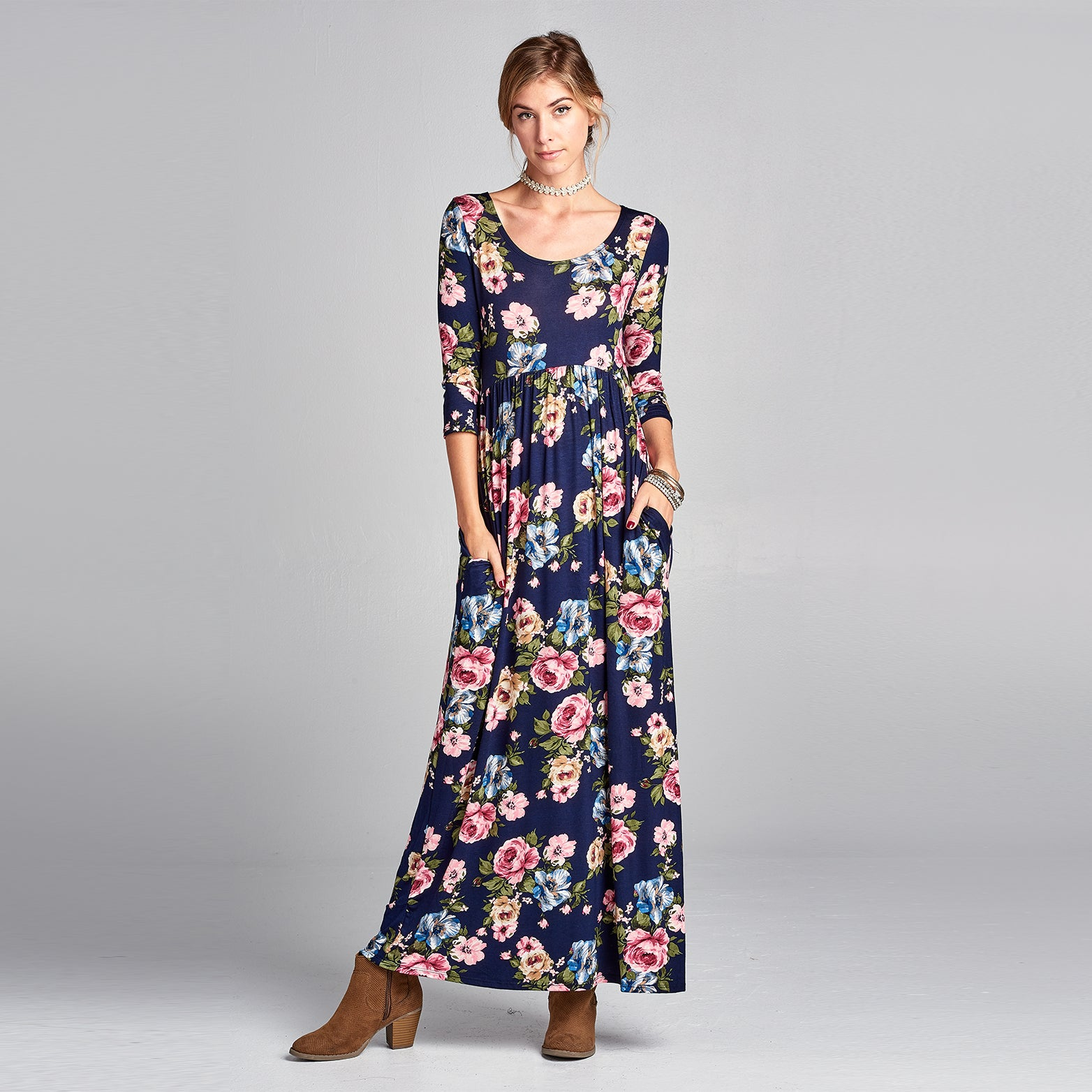 Empire Waist Floral Maxi Dress