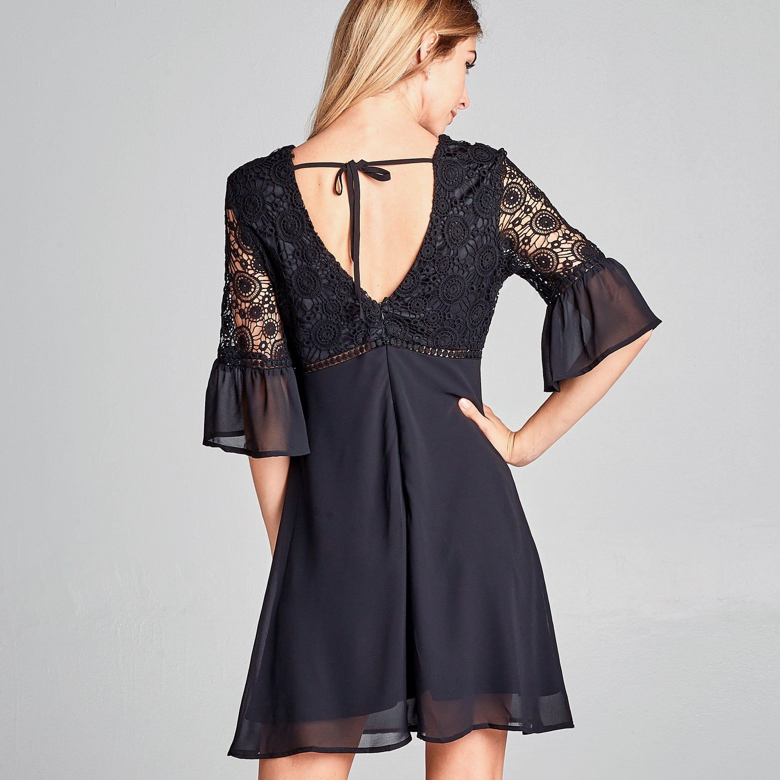 Bell Sleeve Medallion Lace Dress