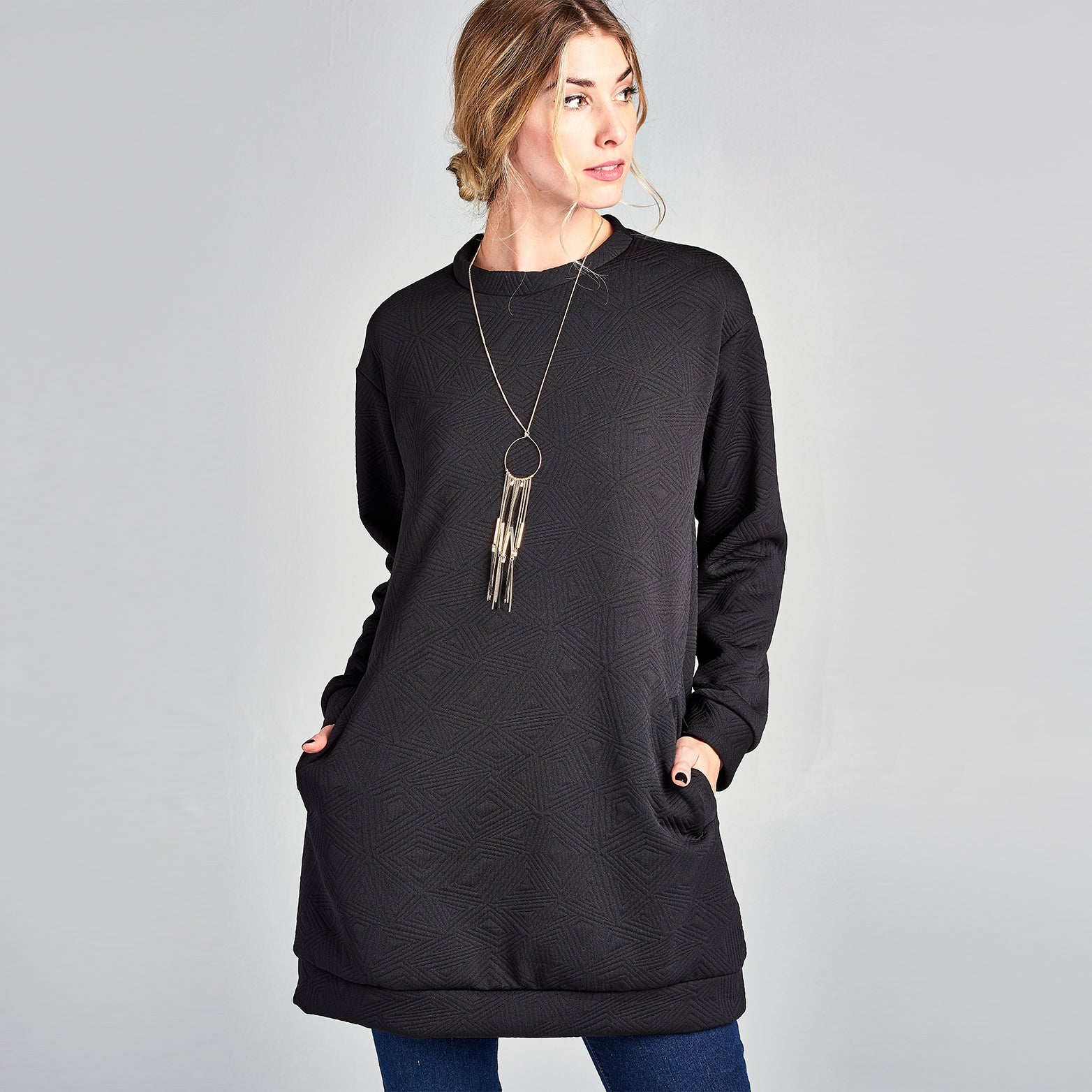 Embossed Sweatshirt Dress