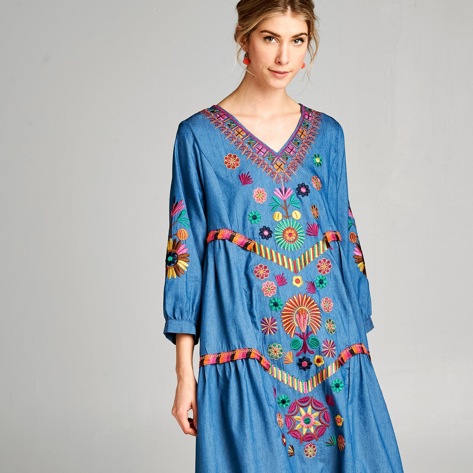 Floral Embroidered Maxi Dress - Love, Kuza