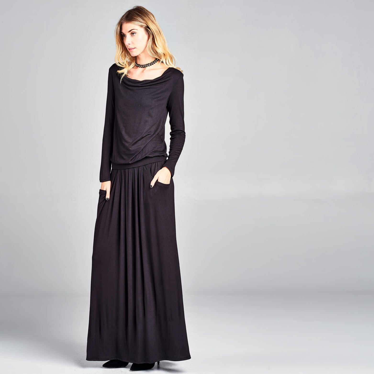 Cowl Neck Long Sleeve Maxi Dress