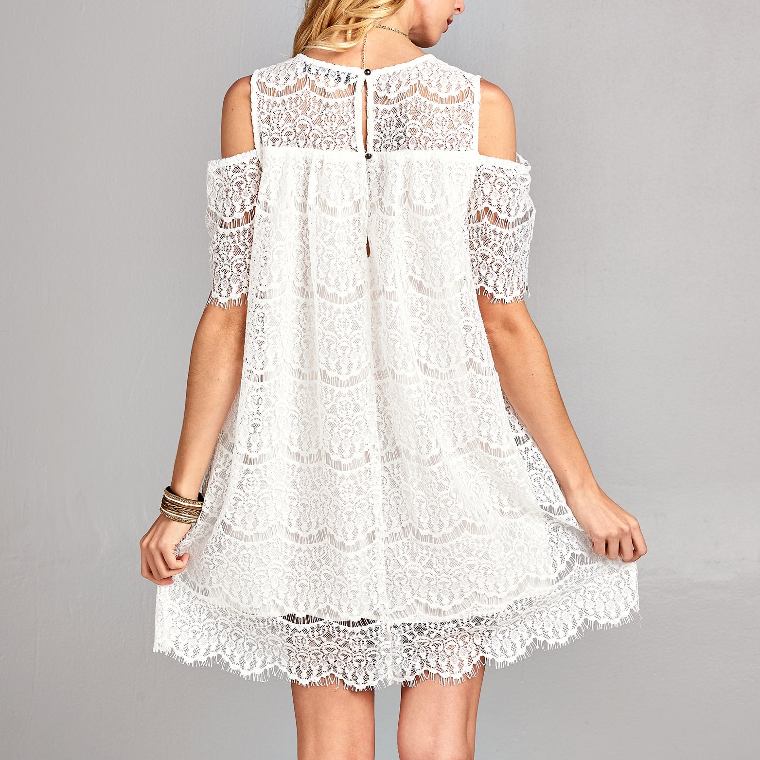 Chantilly Lace Cold Shoulder Dress