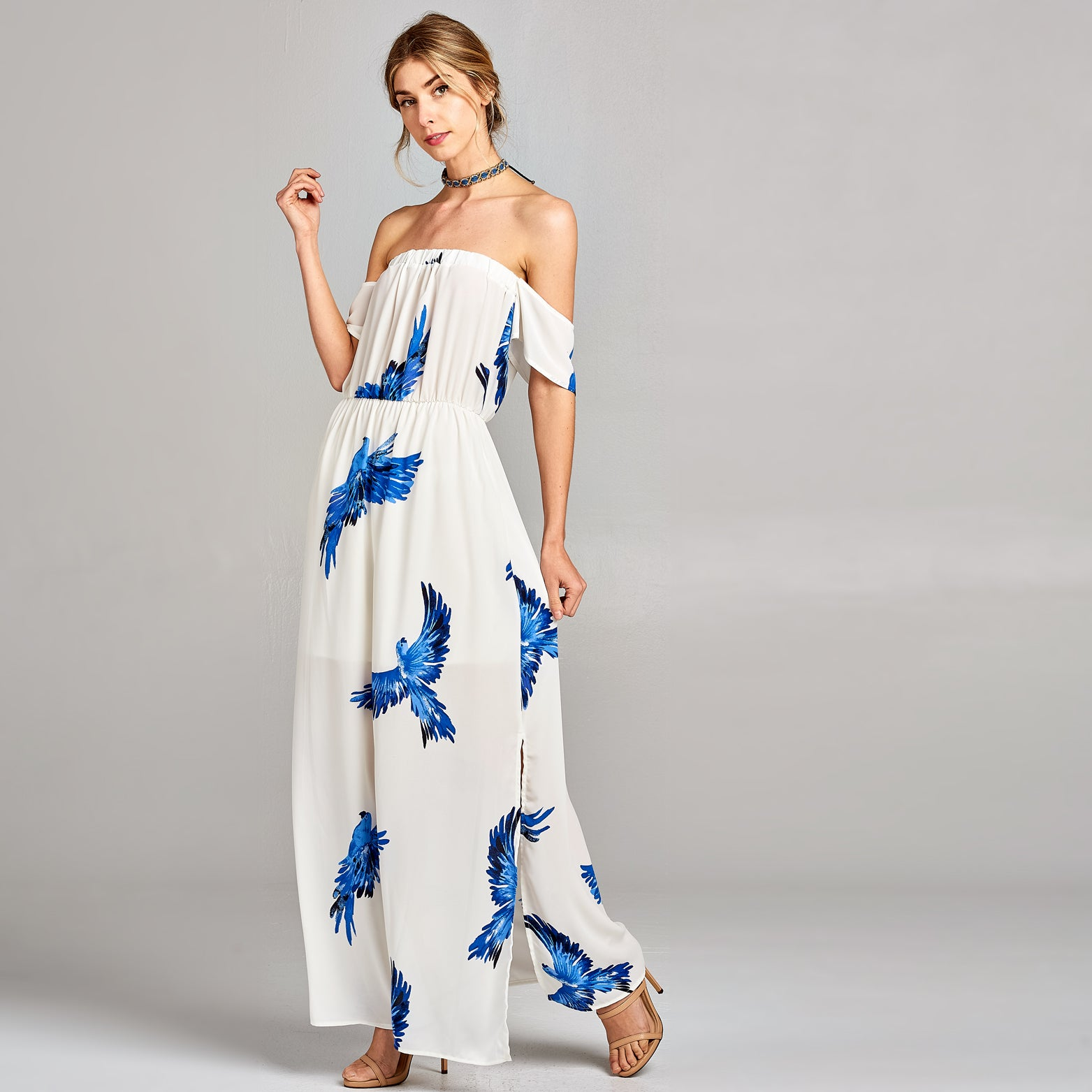 Blue Parrots Chiffon Maxi Dress