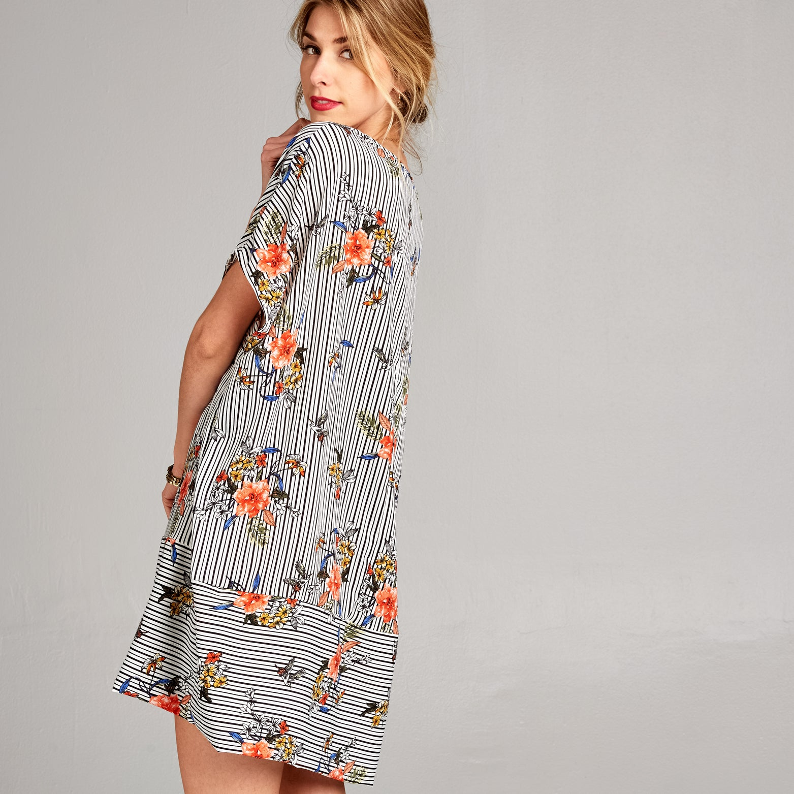 Oversized, Boxy Fit Kimono Sleeve Dress - Love, Kuza