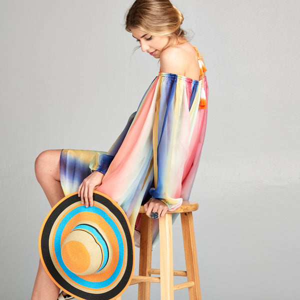 Ombré Rainbow Off Shoulder Dress