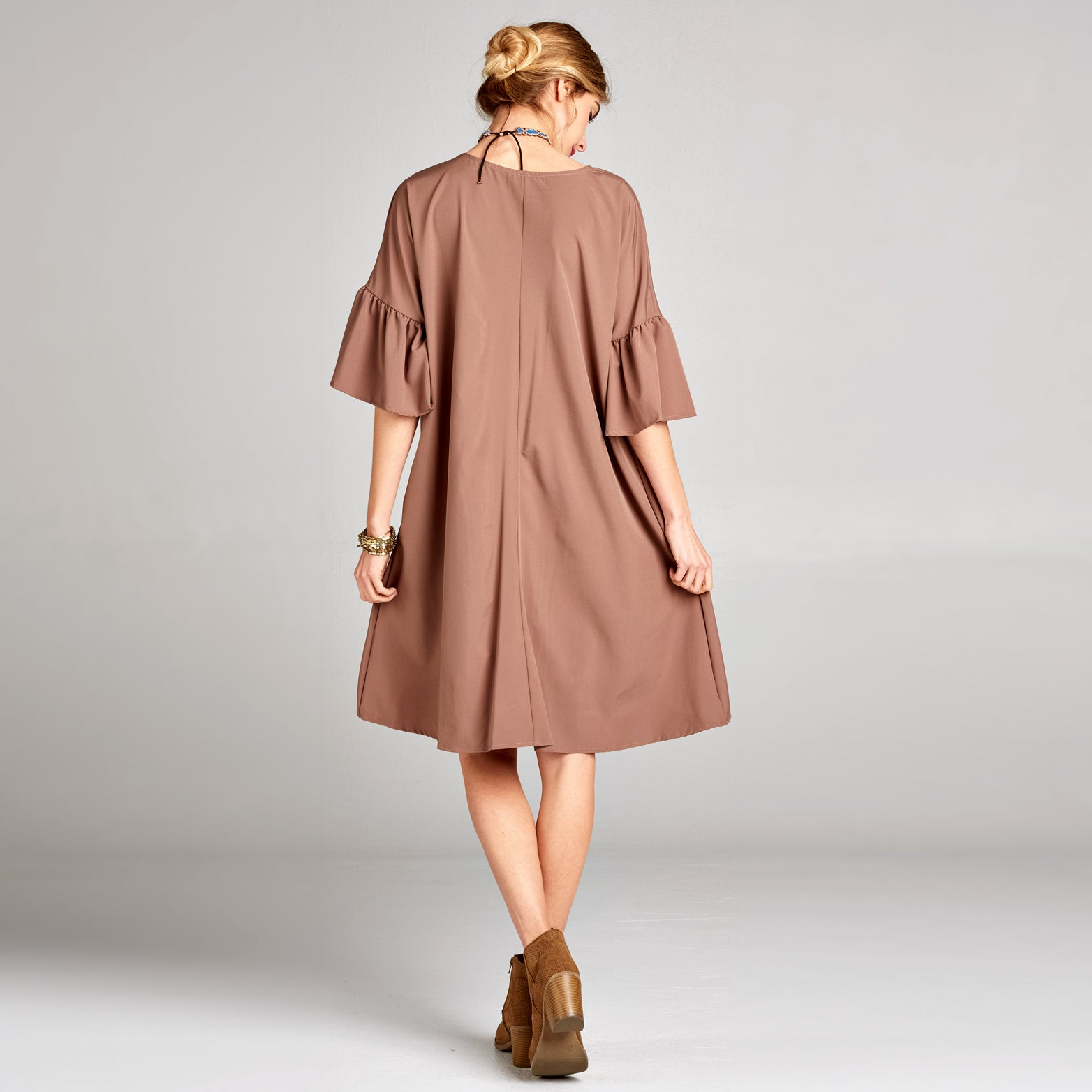 Bell Sleeve Boxy Shift Dress