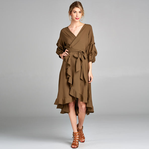Puff Sleeve Woven Wrap Dress