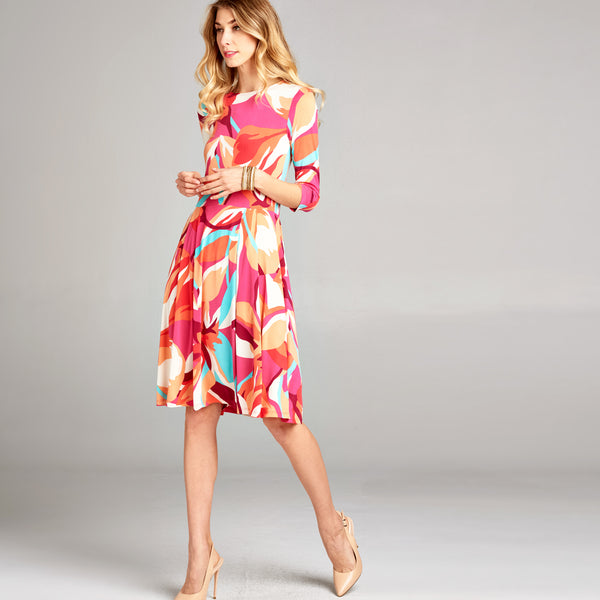 Abstract Petals Venechia Pleated Dress