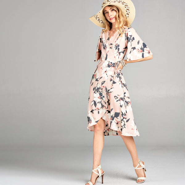 Blush Floral Wrap Dress