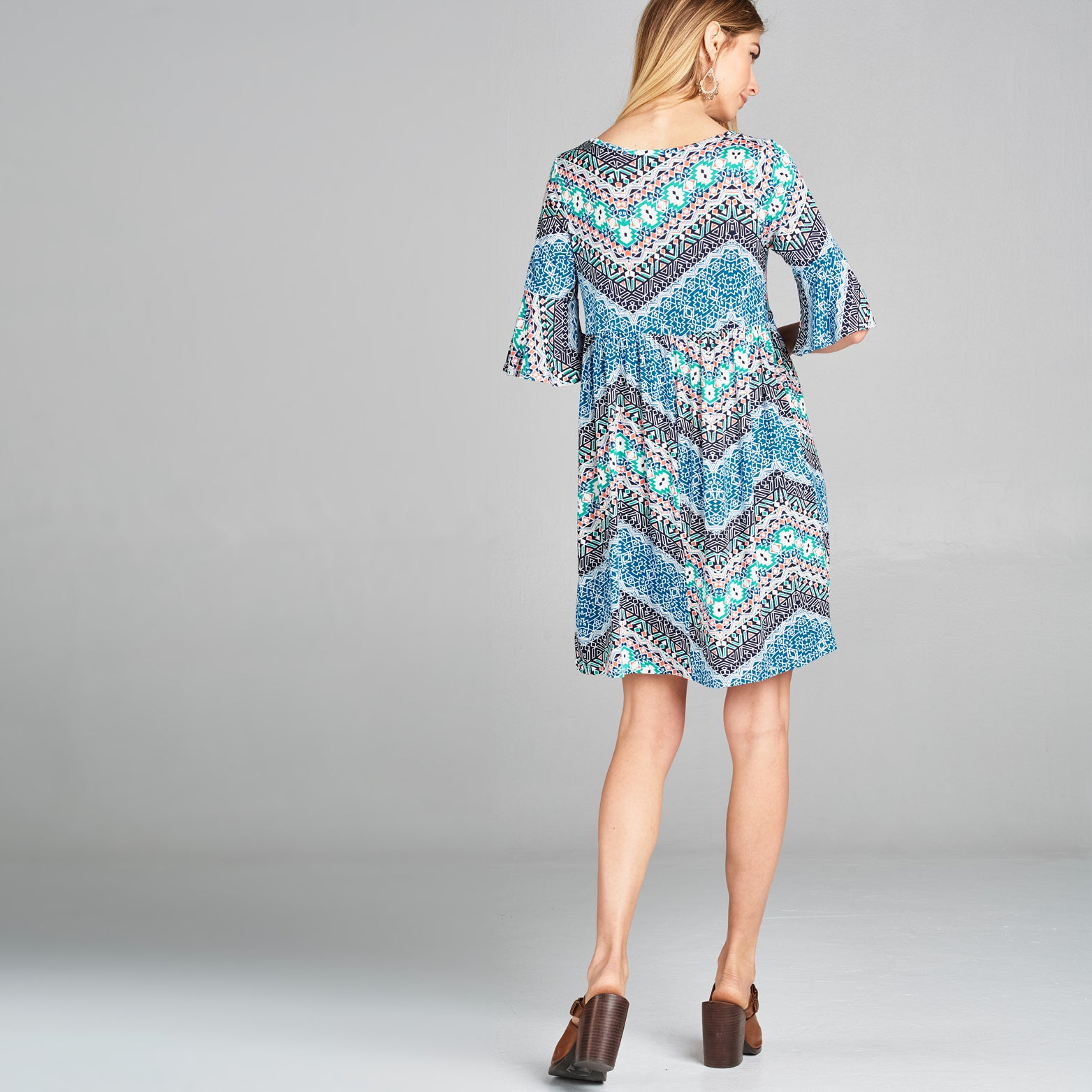 Blue Chevron Empire Dress