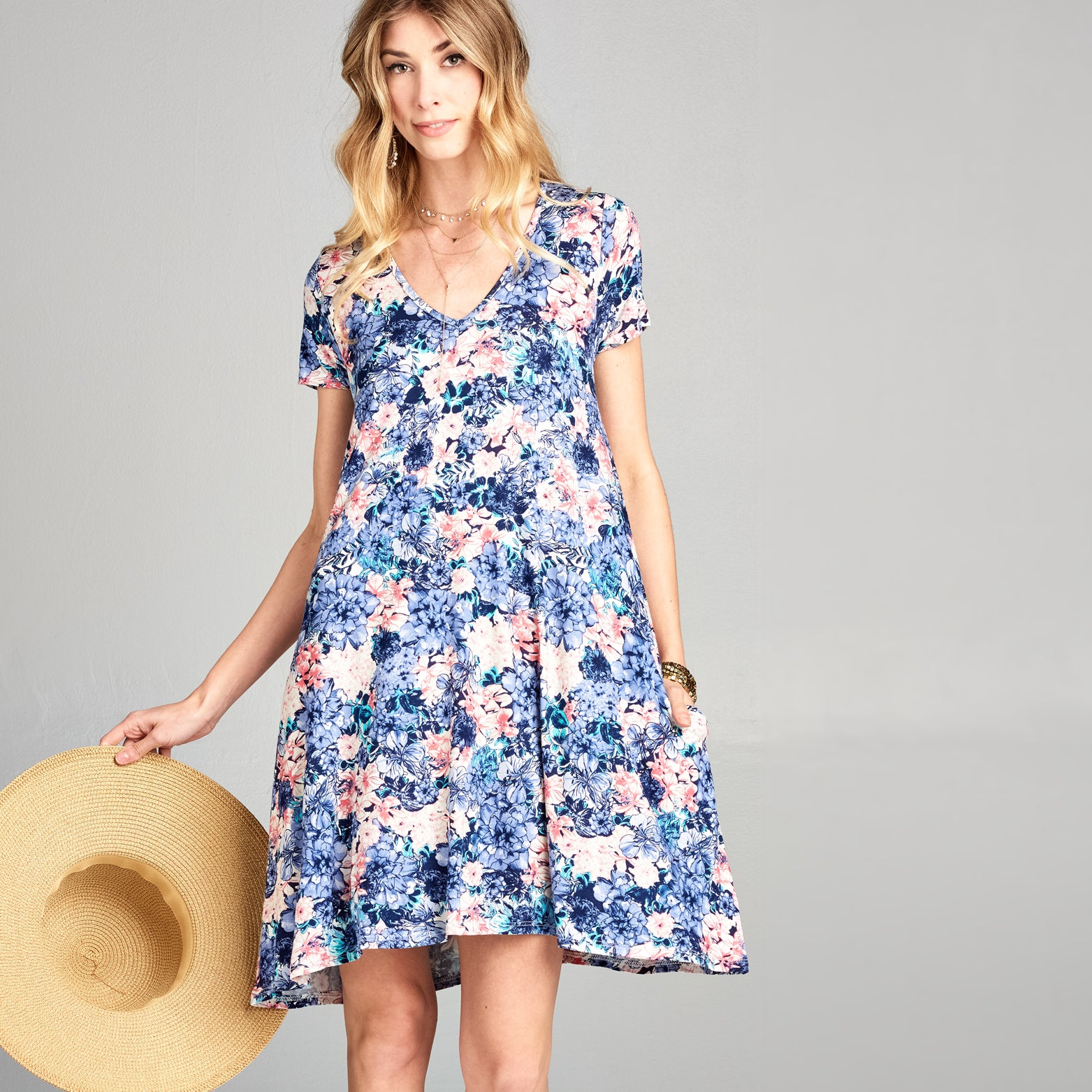 Lavender Floral Swing Dress